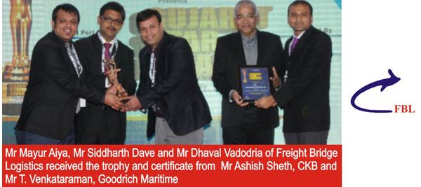 FreightBridge Logistics awarded upcoming LCL Consolidator of the Year at Gujarat Star Awards 2014