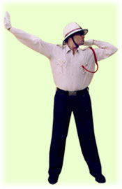 Traffic Police Hand Signals - To start one sided vehicles