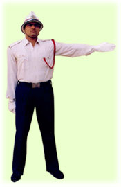 Traffic Police Hand Signals - To stop vehicles approaching from behind