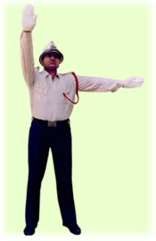 Traffic Police Hand Signals - To stop vehicles approaching simultaneously from front and behind